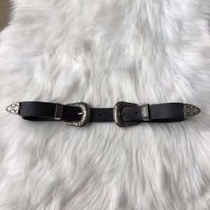 Double Buckle Leather Waist Belt Silver Black S M